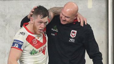 Cam McInnes and Paul McGregor after McGregor's final game as Dragons coach.