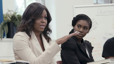 A scene from Michelle Obama's Netflix documentary Becoming.