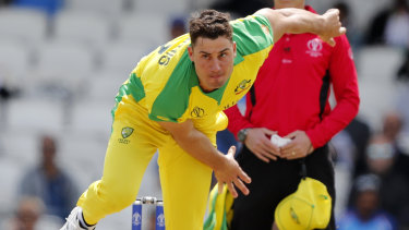 Australia's Marcus Stoinis bowls during the Cricket World Cup match between India and Australia at the Oval in London.