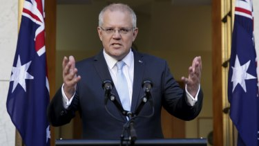 Scott Morrison addresses the media after visiting Governor-General Sir Peter Cosgrove on Thursday.