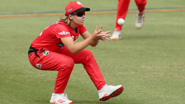 Safe hands: Carly Leeson of the Renegades takes a catch to dismiss the Strikers' Katie Mack.