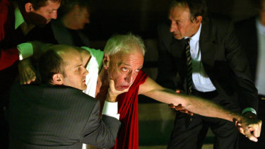 Arthur Dignam playing Julius Caesar (centre) by William Shakespeare, directed by Benedict Andrews at the Sydney Theatre Company in 2005.