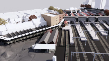 An aerial walkway, on the left, from Wilson Street to the proposed concourse for Redfern Station, is one of the options.