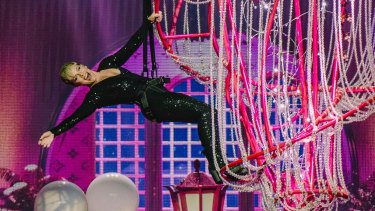 Pink soars above the crowd in her Beautiful Trauma tour, at her Perth show.