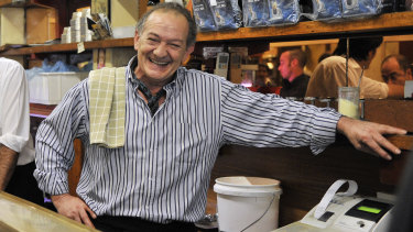 Sisto, with his trademark cravat and smile, in Pellegrini's in 2010.