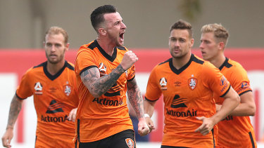 Triple treat: Irishman Roy O'Donovan celebrates the first goal of his hat-trick for Roar during the clash against Melbourne City at Dolphin Stadium in Brisbane.