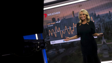 Channel Seven weather presenter Jane Bunn presents climate change information on the nightly news bulletin