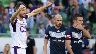 Perth's Matthew Spiranovic celebrates on the final whistle.