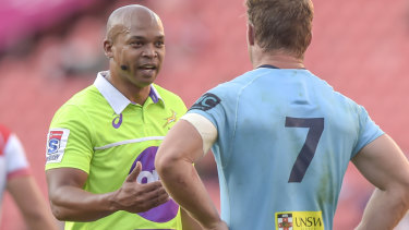 Dropped: referee Egon Seconds has been axed by SANZAAR following the Waratahs' one-point loss to the Lions in Johannesburg.