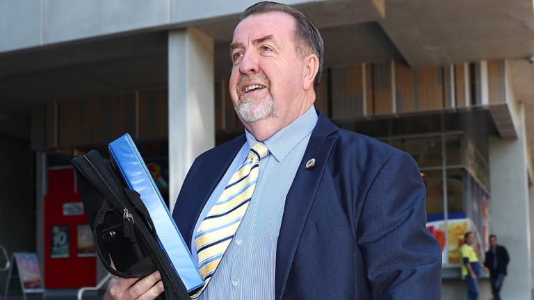 Councillor Paul Tully arrives for the CCC public hearing in Brisbane in 2017.