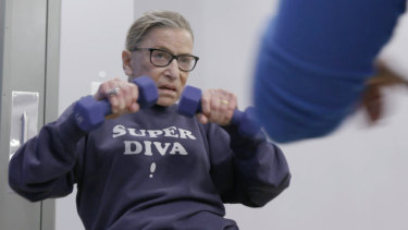 Ruth Bader Ginsburg working out.