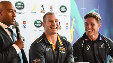 George Gregan, pictured here with David Pocock and Michael Hooper at a sponsorship announcement early last year, has a strong rapport with current players.