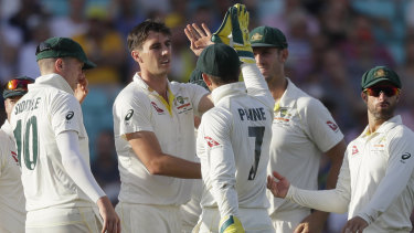 Meagre reward: Pat Cummins bent his back for Australia on a day where many chances in the field went begging.
