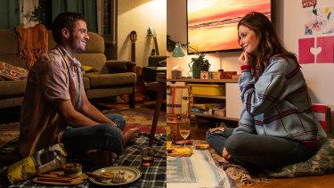 Joe (Lewis Mulholland) and Ally (Christie Whelan Browne) enjoy a picnic, lockdown-style, in Loving Captivity.