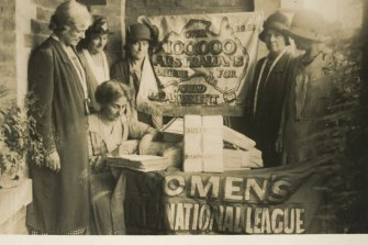 Australian women with a disarmament petition organised by the Women's International League for Peace and Freedom. Its 3 million signatures worldwide were presented to a League of Nations forum in Geneva in 1932 (seven years before WWII broke out).