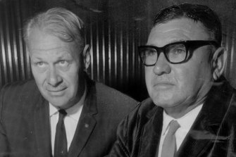Mining business partners Peter Wright, left, with Lang Hancock in 1967.