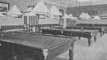 The billiards room, which housed five tables at capacity.