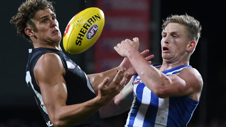 Charlie Curnow and Jack Ziebell in action at Blundstone Arena on Saturday.