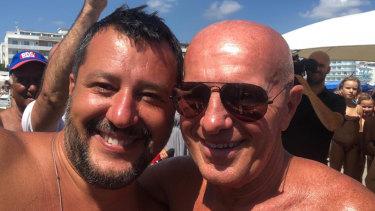 Matteo Salvini (on left)  with former football coach Arrigo Sacchi.