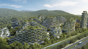 An artist's rendering of China's Liuzhou Forest City, where 30,000 people will live.