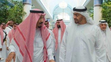 King Salman of Saudi Arabia, left, with  Prince Mohammed bin Zayed in the Saudi port of Jeddah in 2017.
