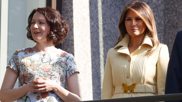 Melania Trump and Finland's first lady twin in butterfly outfits
