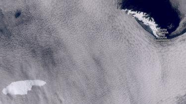 Satellite image of the iceberg floating towards South Georgia.