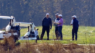 President Donald Trump at the Trump National Golf Course in Sterling, Virginia as the election was called for Joe Biden.