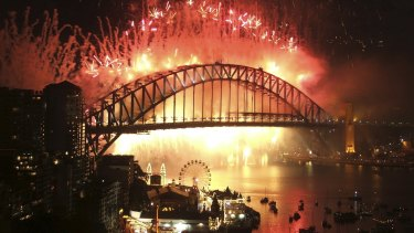 New Year's Eve fireworks viewed from North Sydney.