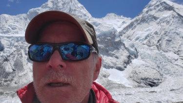 Christopher Kulish beneath Mount Everest.