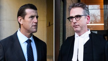Ben Roberts-Smith and media barrister Nicholas Owen, QC, outside court.