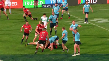 Hanigan over the ball in the 52nd minute and Barrett on the opposite side of the ruck.