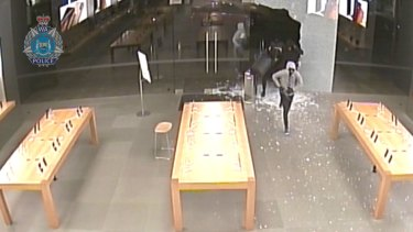The thieves broke into the Apple store on Hay Street in Perth.