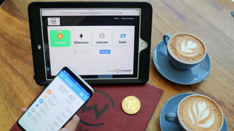 Paying via Bitcoin at Brisbane Airport.