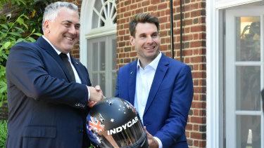 Australian Indy 500 driver Will Power with Australian Ambassador to the US Joe Hockey on Tuesday.