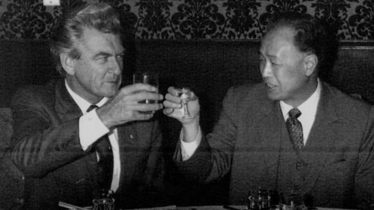 Bob Hawke with then Chinese premier Zhao Ziyang at the Chinese embassy in Australia in 1983.