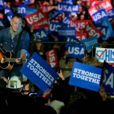 Bruce Springsteen campaigning for  Hillary Clinton in 2016.