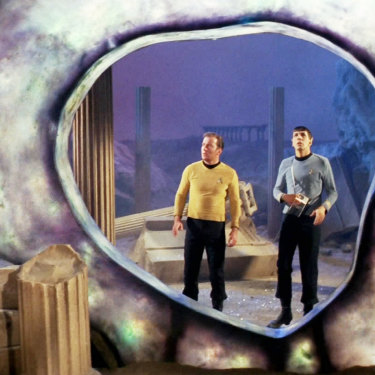 <i>Star Trek</i> stars William Shatner as Captain James T. Kirk and Leonard Nimoy as Mr Spock stand before a time and space portal known as the Guardian of Forever.