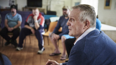 Dr George O'Neil speaks with men living at the Fresh Start Recovery Program in Subiaco.