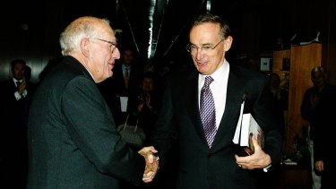 James Dunn with then NSW Premier Bob Carr MP at the launch of Dunn's 2003 book, East Timor: A Rough Passage to Independence.