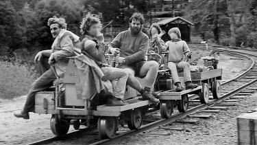 Convicted sex offenders Robert Whitehead (left) and Anthony Hutchins (right) with young volunteers at Puffing Billy in 1979.