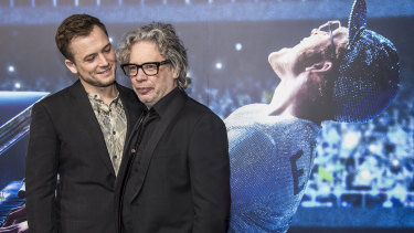 Star Taron Egerton (left) and director Dexter Fletcher at Australian premiere of Rocketman at the State Theatre on Saturday night.