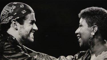 In this Aug. 30, 1988, photo, Aretha Franklin joined George Michael during his Faith World Tour in Michigan.