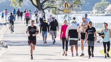 The Bay Run in Sydney's inner west has become crowded during the COVID-19 crisis.