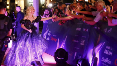 Australian singer Kate Miller-Heidke arrives for the opening night of the 64th annual Eurovision Song Contest.