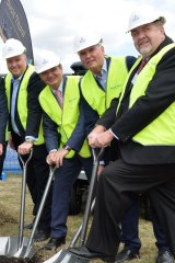 All smiles at the Brookwater launch in September 2016. (From left) Richard Turner, Paul Pisasale, Springfield Land deputy chairman Bob Sharpless and Paul Tully.