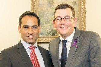 Former Labor candidate Jasvinder Sidhu with Premier Daniel Andrews.