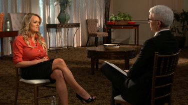 Stormy Daniels, left, during an interview with Anderson Cooper on 60 Minutes in the US.
