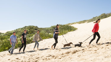 Greg and Nerida Coman with their children Tallis, Amelie and Lilia at the sand dunes near their Cronulla home.