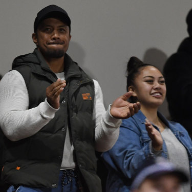 Martin Luai and his daughter Alexia watch on at Panthers Stadium as Penrith knocked off the Eels last week thanks to a late try to Jarome.